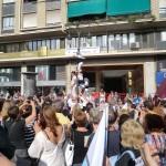 Ein colles castelleres von Valencia in der demonstration von der Valencianischen Sprache.