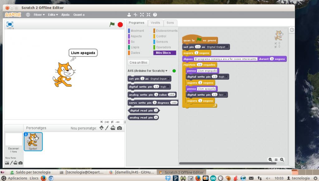 Led 13 engegant-se i apagant-se en Arduino amb Scratch 2