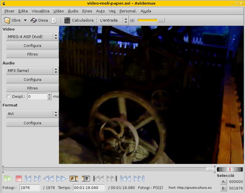 Vídeo amb còdecs