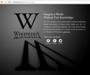 Wikipedia anglesa protestant contra la seua llei Sinde
