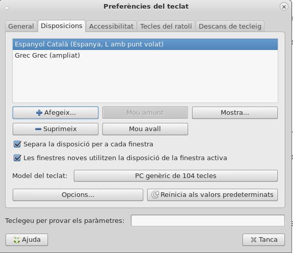 Teclat grec i teclat espanyol instal·lats
